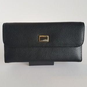 Liz Claiborne Black Pebble Leather Wallet
